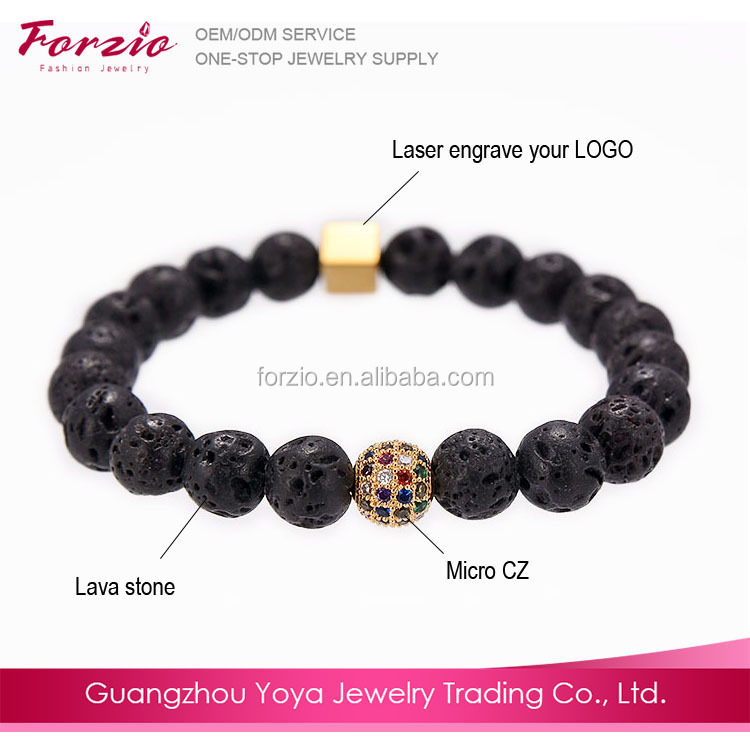 BN2014 Fashion aromatherapy essential oil diffuser bracelet jewelry,lava stone bead bracelet with cubic zirconia bead