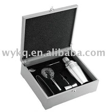 5pcs luxury cocktail shaker gift set/bar tool set in wooden case/box for gift