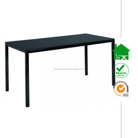 DT-3078 Black glass top metal leg dining room table
