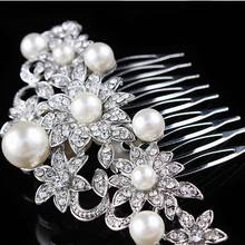 Stylish Fashion Hair Jewelry Ornaments Crystal Stackable Flowers Big Pearl Hair Comb For Bride
