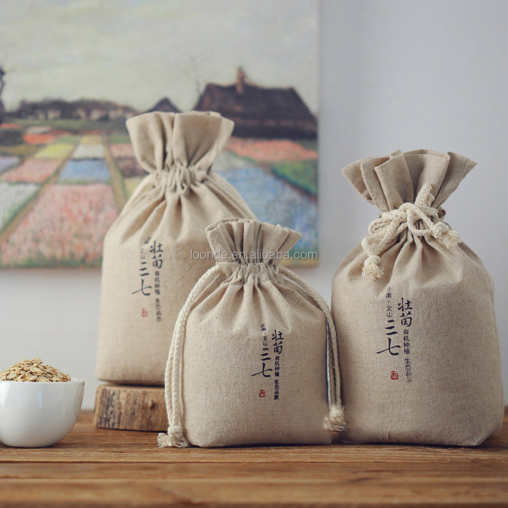 Custom brand printed cotton linen knitting grains cereals bag