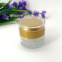 30g transparent glass cream empty jar skin cream cosmetic packaging <strong>container</strong> with plastic acrylic yellow lid