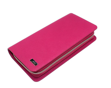 Genuine leather smart phone pink case charging purse qi wireless charger wallet leather women