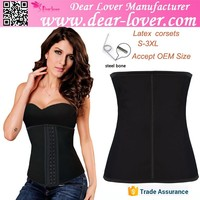 Wholessale Latex rubber plus size black corset waist trainers