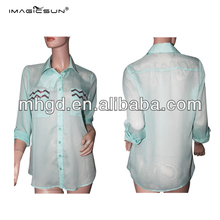 Latest mint 100% polyester blouses long sleeve woman chiffon blouse with unique Design