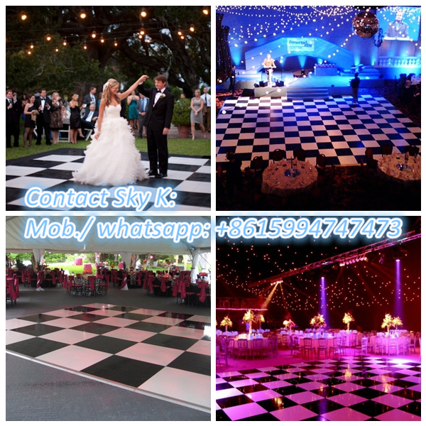 christmas party!!!hot sale professional effect tempered glass led used portable dance floor