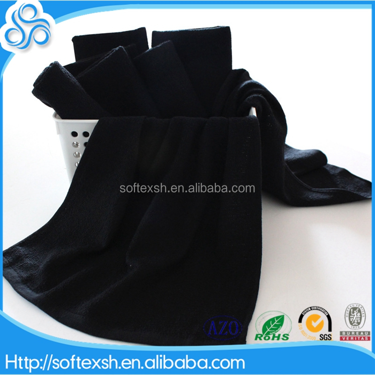 china wholesale Dark color cotton black hairdressing towels salon