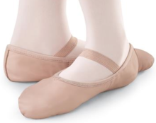 7000039 Wholesale Cheap China Factory OEM Girls Women Leather Pig Skin Cow Leather Dance Shoes Light Pink Leather Ballet Shoes