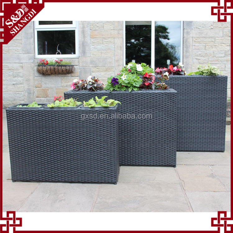Wholesale tall rectangular shape outdoor patio rattan planter boxes