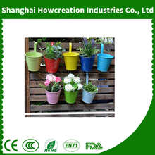 Hanging Flower Pots,Out Topper Balcony Garden Plant Planter Metal Iron Mini Flower Seedlings Brigade Fence Bucket Pots
