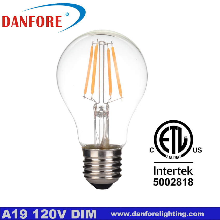 ETL cETL approved 40w retro edison bulb replacement A19 3.5W Dimmable Filament LED bulb