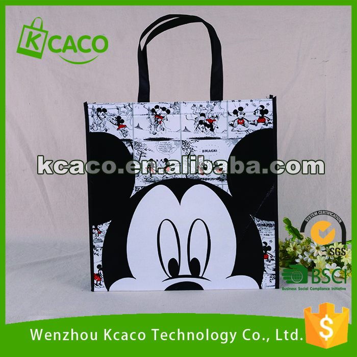 Black mickey mouse heat transfer reusable collapsible shopping bag tote bag