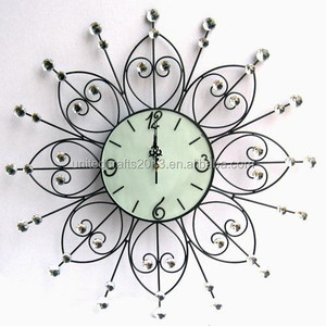 Economic flower diamond sticker metal wall clock for office decor