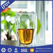 2017 Heat resistant Double wall glass coffee cup with silicone base lid handmade,Double wall glass tea cup,Glass candle cup