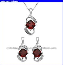 Jewelili Diamond Pendant and Earrings Box Set in stainless steel plated silver