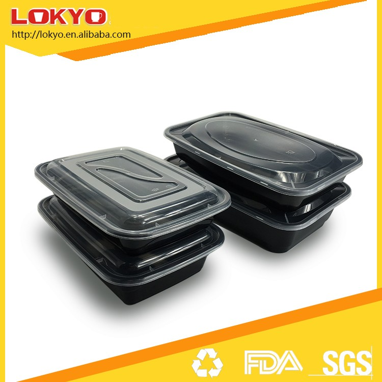 Plastic food meal prep bento container Microwave safe black container with lid