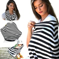 Multi use stripe breastfeeding cover baby car seat cover nursing scarf