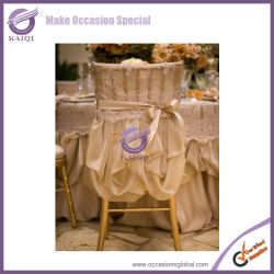 K0669 2014 hot design fancy style folding wedding lace satin chair covers wholesaler
