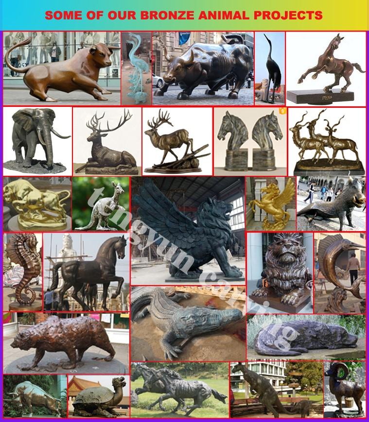 bronze flying lion sculpture