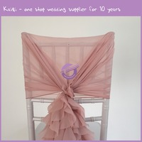 19869-2 2016 new design chiffon Elegant Ruffled Chair Sash,Wedding Chair Covers With Ruffles