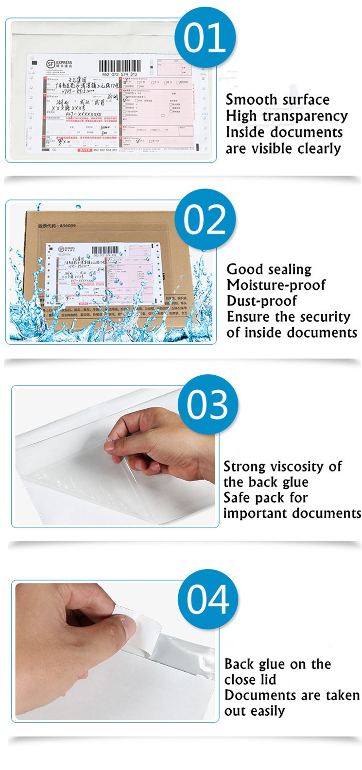 Printed self-adhesive packing list envelopes document pouch P037