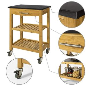Bamboo Kitchen Storage Serving Trolley Cart with Black Granite Countertop