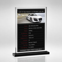 Modern free standing perspex sign holders for displaying promotional posters