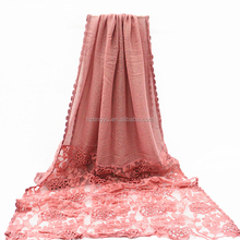women nice lifestyle stylish muslim arab cotton lace pattern hijab
