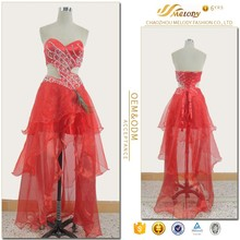 Red satin organza hollow beaded waist feather latest fashion dress design