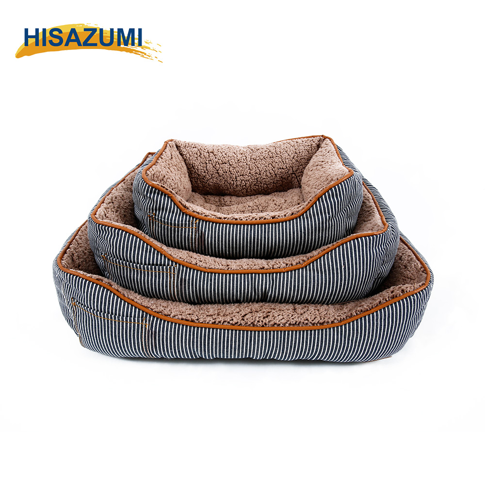 Wholesale custom luxury pet dog bed , Denim square pet dog beds