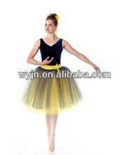 2015 dance costume-soft yellow classic long tutu-blue velvet concert performance costumes