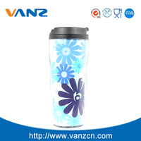 Travel mug with paper insert plastic travel mug