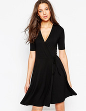 OEM Factory Apparel Woman Wrap V Neck Short Sleeve Dress Women Casual Latest Frock Designs For Women
