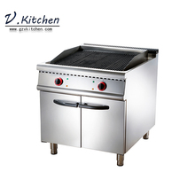 Commercial kitchen 8.0kw stainless steel 700 series electric lava stone grill machine on cabinet lava rock grill