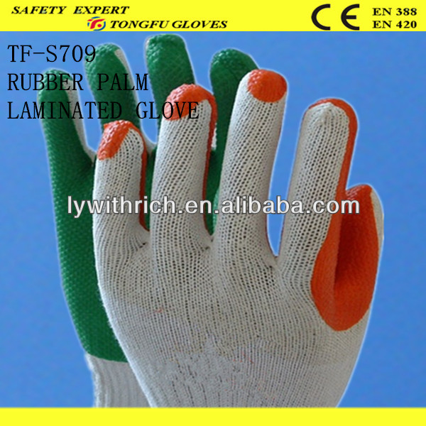 industrial orange natural latex rubber coated hand glove