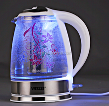 High Quality Color changing Cordless pyrex clear glass Electric Glass brew Tea Kettle with infuser