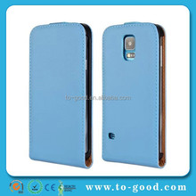 2015 New Products China Manufacturer Genuine Leather Flip Mobile Phone Case For Samsung Galaxy S5 (Sky Blue)
