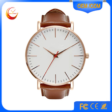 Fashion Leather Clean Design Men Watch 2016 Cheap Alloy Custom Men Watches