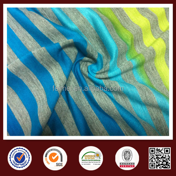 60% Cotton 40% Polyester CVC Knit Jersey Stripe Fabric