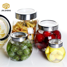 Glass Food Container - Dry Food Cereal Candy Sauces Herbs Spices Pet Food Canister Container w/ See Through Lid