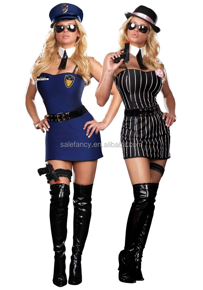 reversible sexy cop gangster viking woman costume nature fancy dress wholesale costumes QAWC-8235