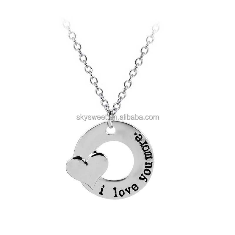I love you more heart charms letter necklace,jewellery chain couple necklaces