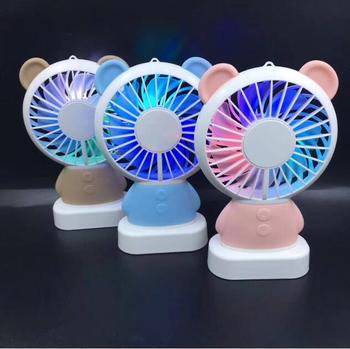 mini cute animals design portable fan with lights cooler fans for summer season