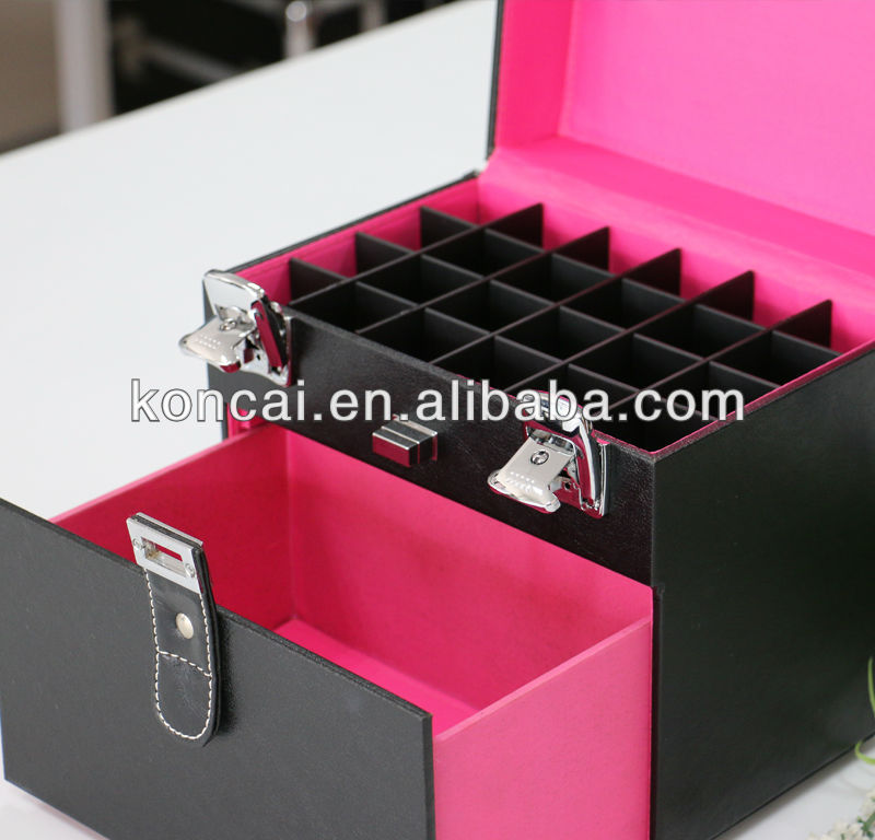 Large Size Brush Collection Hold Up To 12 Bottles Of Nail Polish Vanity PVC Nail Polish Carrying Organizer Case