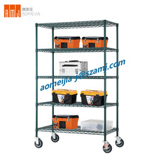 BSCI & NSF Approved 5 Tier Epoxy Heavy Duty Wire Shelf with 5 Inch Castors