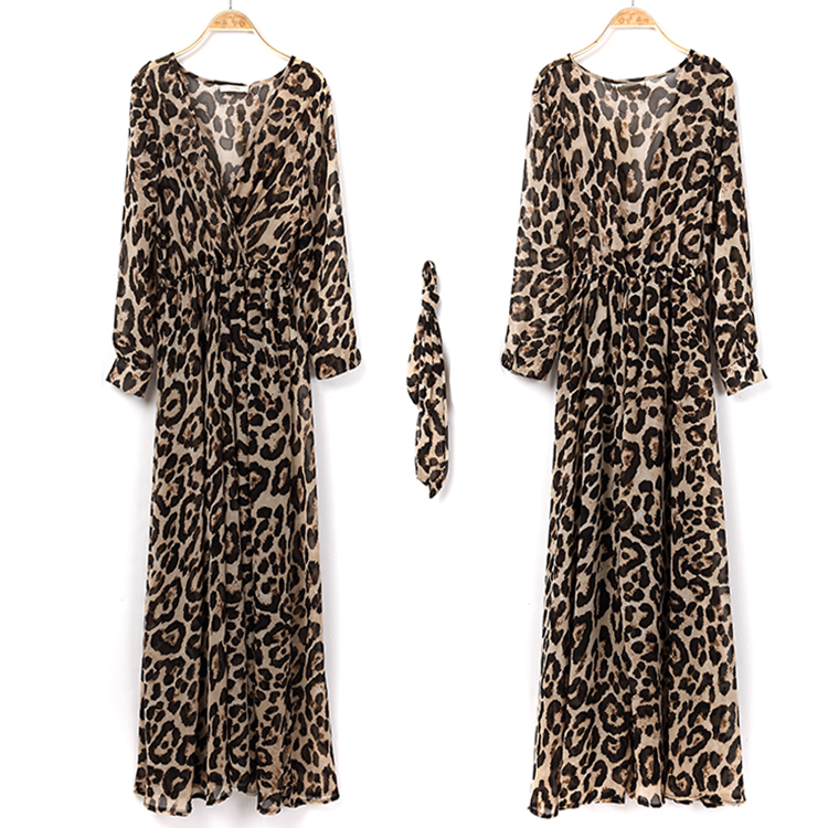 New Style Spring Or Summer Long Leopard Print Dress With long Sleeve