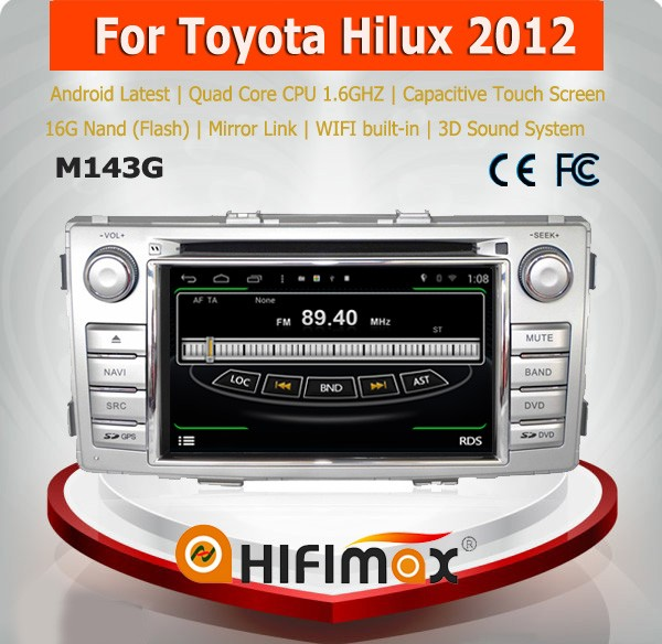 HIFIMAX Android 4.4.4 car dvd gps radio player for Toyota Hilux car multimedia navigation system car audio player 2012-2014