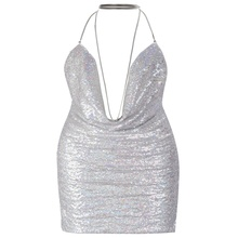 2017 Newest Evening Party Backless Sequins Women's Short Dresses Sleeveless Sexy Young Girl's Dress
