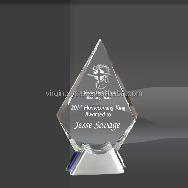 Clear diamond shape glass award plaque with metal silver base custom company annivery gift