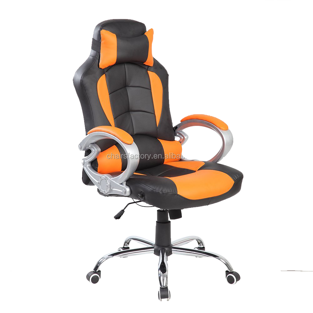 Special design orange genuine leather office chair with for Special chair design
